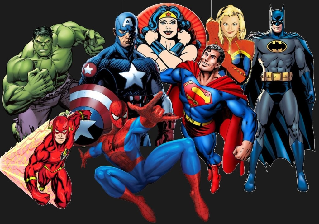 Superheroes Collage for Webpage, webpage background color